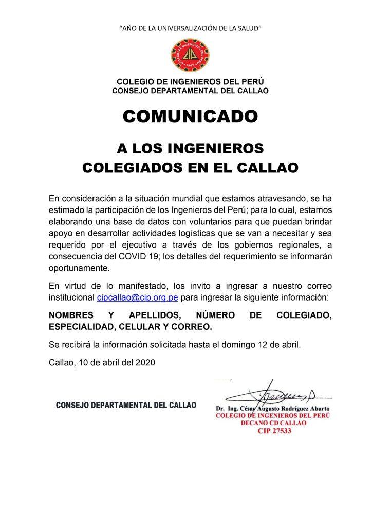 COMUNICADO A LOS INGENIEROS COLEGIADOS EN EL CALLAO